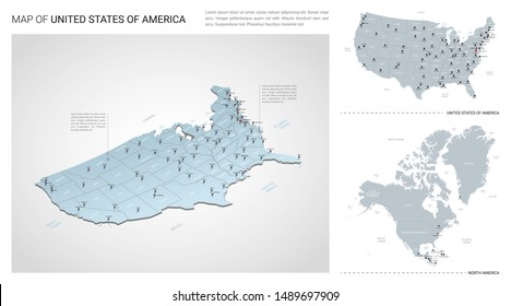 Vector set of United States of America  country.  Isometric 3d map, United States of America  map, North America map - with region, state names and city names.