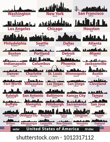 vector set of United States cities skylines silhouettes
