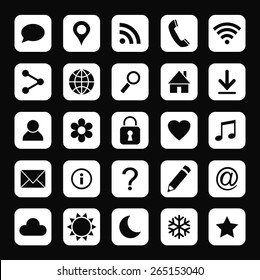 Vector set of universal web icons for media, communication, business, mobile and  meteorology.