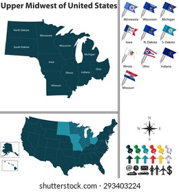 Vector set of Upper Midwest of United States with flags and map on white background