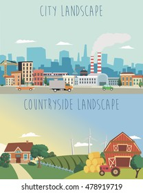 Vector set of urban and countryside landscapes. Big city and village farm illustration in flat style design.