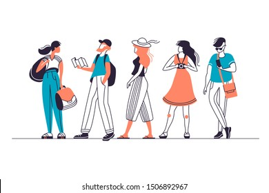 Vector set of urban touristic people characters, men and women in different poses.