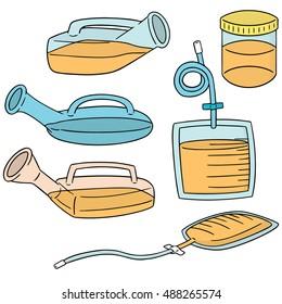 vector set of urinal pot and urine bag