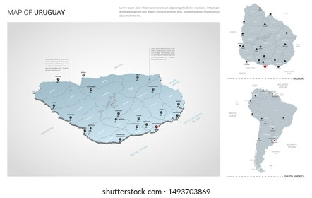 Vector set of Uruguay country.  Isometric 3d map, Uruguay map, South America map - with region, state names and city names.