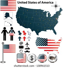 Vector set of USA country shape with flags and icons on white background