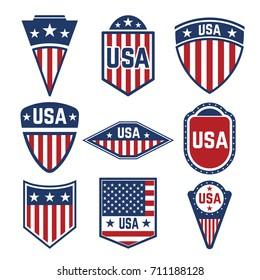 Vector set of the USA labels. Emblems with american flags. Design elements for logo, label, emblem,sign. Vector illustration
