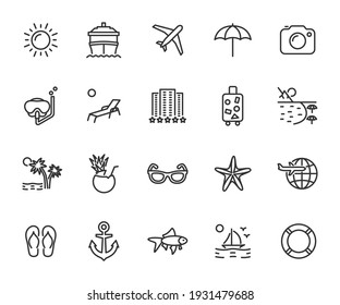 Vector set of vacation line icons. Contains icons hotel, cruise ship, travel, luggage, beach, snorkeling, cocktail and more. Pixel perfect. - Shutterstock ID 1931479688