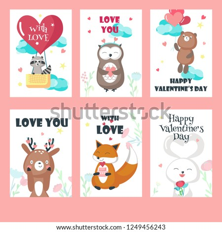 Vector Set Valentine Day Cards Cute Stock Vector Royalty Free