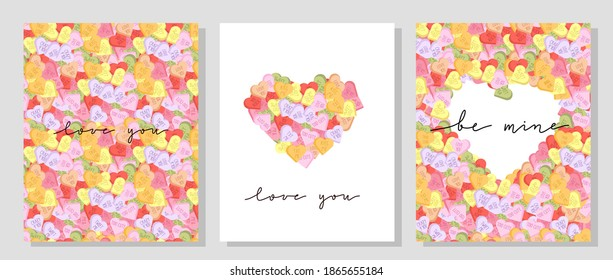 Vector set of Valentine day postcards with hand lettering and vivid colored candy hearts. Conversation hearts with short phrases flyer.