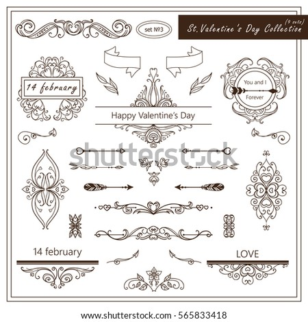 Vector Set Valentine Day Vintage Elements Stock Vector Royalty Free