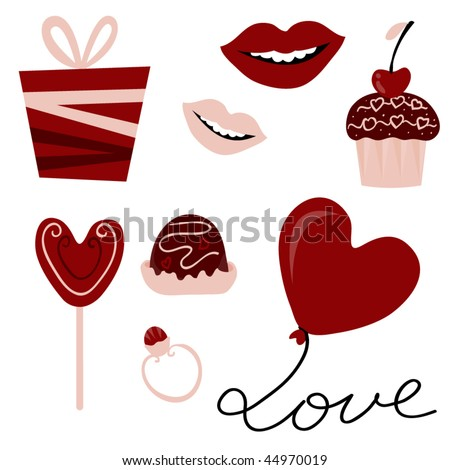 Vector Set Valentines Day Elements Stock Vector Royalty Free
