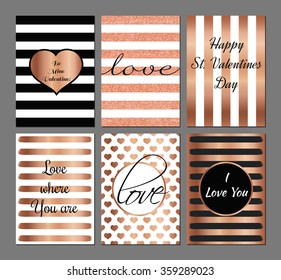Vector set Valentines Day modern cards in rose and black colors.