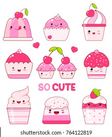 Vector set of vanilla, blueberry, currant, strawberry jelly, ice cream, marshmallows, cupcake with berry. In kawaii style with smiling faces, pink cheeks and winking eyes. For sweet design. EPS8