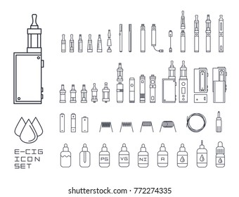Vector set of vape related simple line Icons. RDA, Atomizer, drip tip, mod, e-liquid, coil. Different types of electronic cigarettes. Stylish minimalistic icons.