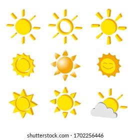 Vector set of vareity shape sun icon 3d style