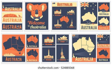 Vector Set of Various Australia Icons . Australian map. Australian flag. The most famous city in Australia. Melbourne, Brisbane, Canberra, Sydney. Flat design of Australian' s landmarks.