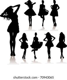 vector set of various beautiful girls