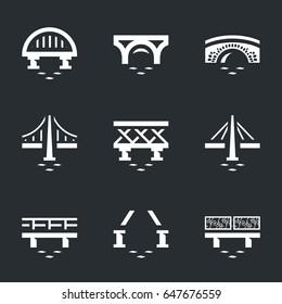 Vector Set of Various Bridges Icons.
