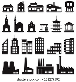 vector set of various buildings