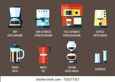 Vector set of various coffee makers and coffee machines. Flat style.