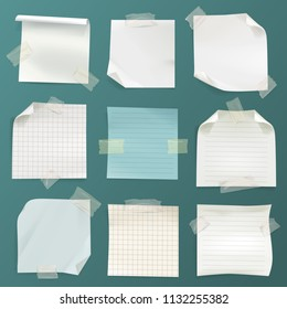 Vector set of various crumpled note papers with curled corner and adhesive tape. Clean lined and checkered pages with shadows isolated on aqua blue background.