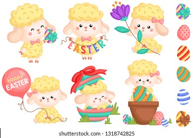 A Vector Set of Various Cute Girly Sheep and Eggs Celebrating Easter Day