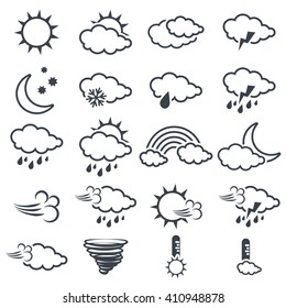 Vector set of various dark grey weather symbols, elements of forecast, line design - icon of sun, cloud, rain, moon, snow, wind, whirlwind, rainbow, storm, tornado, thermometer