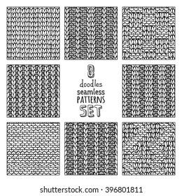 Vector set of various doodles stitch patterns. Stockinette stitch. Basic knitting stitch. Garter stitch. Plain stitch. Basket weave Stitch. Box Stitch. Ribbing Stitch. Double Ribbing Stitch.