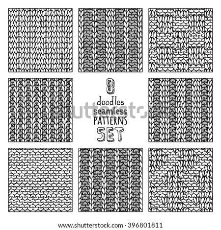 Vector Set Various Doodles Stitch Patterns Stock Vector Royalty