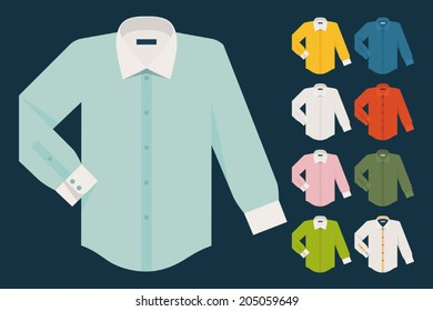 Vector set of various dress shirts