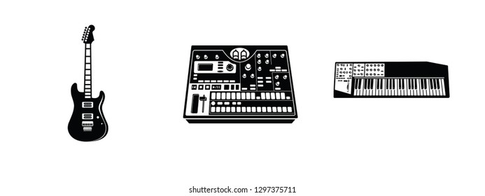 Vector Set of various electronic music equipment, electric guitar, electronic sampler, keyboard synthesizer.