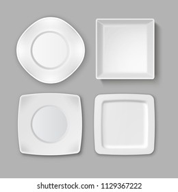 Vector set of various empty square white plates and bowl isolated on gray background, top view