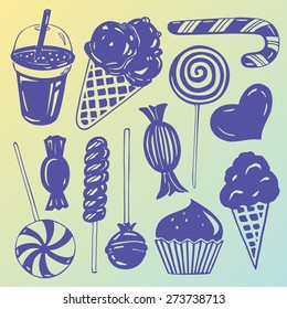 Vector set: Various hand drawn candy for children