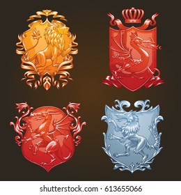 Vector set of various heraldic shields with different heraldic animals: dragons, wolf and lion in the center on a dark background. Coat of arms, heraldry, emblem, symbol. Color image.
