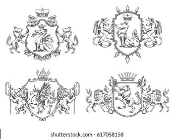 Vector set of various heraldic shields with different heraldic animals: wolves, lions, dragons and unicorns in the center on a white background. Coat of arms, heraldry, emblem, symbol. Line art.