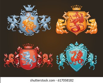 Vector set of various heraldic shields with different heraldic animals: wolf, lion, bears, dragons and unicorns in the center on a dark background. Coat of arms, heraldry, emblem, symbol. Color image.