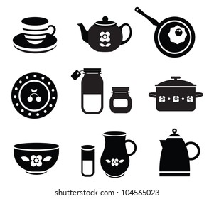 Vector set of various kitchen tools