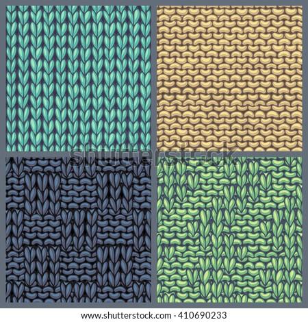 Vector Set Various Knitting Patterns Seamless Stock Vector Royalty