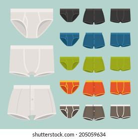 Vector set of various men underwear