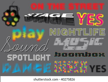 Vector set of various music related words written in different typo's. More music vectors in my portfolio.