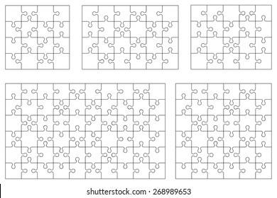 Vector set of various puzzles. 16, 20, 24, 36 and 60 pieces.