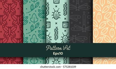 Vector set of various seamless natural patterns