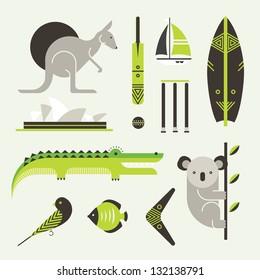 Vector set of various stylized australia icons