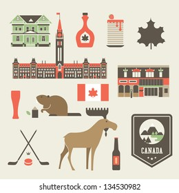 Vector set of various stylized canada icons