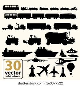 Vector Set of various transport icons