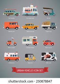 Vector set of various urban and city cars and vehicles featuring ice cream truck, ambulance, tuk tuk, baby taxi, yellow cab, flatbed truck, cargo van, surf car, picnic retro car, milk truck and more