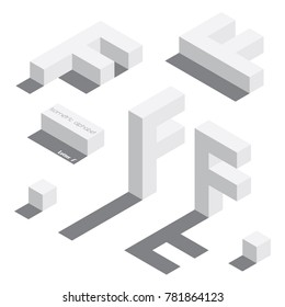 Vector set with various view of isometric english letter F. Different foreshortening with flat shadows. White 3d letters, standing vertical and laying horizontal