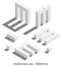 Vector set with various view of isometric letter M. Different foreshortening with flat shadows. White 3d letters.