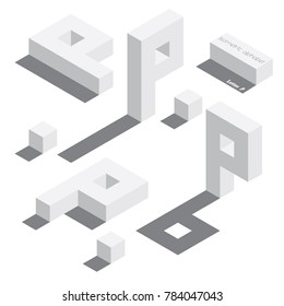 Vector set with various view of isometric letter P. Different foreshortening with flat shadows. White 3d letters.