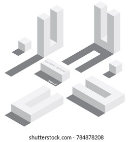 Vector set with various view of isometric letter U. Different foreshortening with flat shadows. White 3d letters.